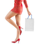 Female holding paperbag very close up Stock Photo