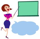 A female holding pointer towards blackboard Stock Photos