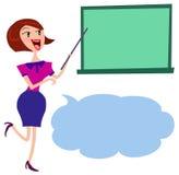 A female holding pointer towards blackboard Stock Photos