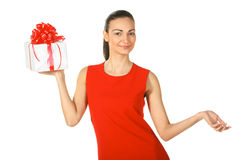 Female holding present box Royalty Free Stock Photos