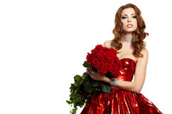 female holding red roses bouquet Royalty Free Stock Photo