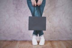 Female holding shopping bag Royalty Free Stock Photo