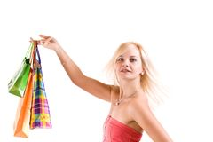 Female holding shopping bags Stock Image
