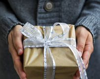 Female holding silver festive Christmas present decorated with r Stock Images