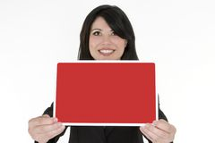 Female holding a small blank sign Stock Photo