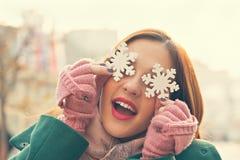 Female Holding Snowflake Decoration Royalty Free Stock Photo