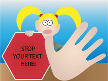 Female holding stop sign gesturing stop - Vector. Girl with overly exaggerated hand gesture warning to stay away Stock Images
