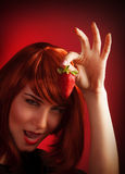 Female holding strawberry Royalty Free Stock Photo