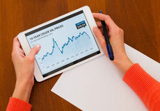 Female holding tablet with oil chart Stock Image