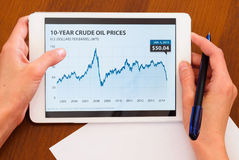 Female holding tablet with oil chart Stock Images