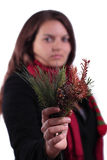 Female holding tree branches Stock Photo
