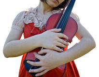 Female holding violin Royalty Free Stock Photography