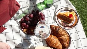 Female holding a wine glasses for a date on checked litter with grape and croissants. stock footage