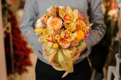 Female holds a bouquet with orange irises and pion-shaped roses Stock Photos