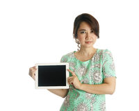 Female holds and touch tablet computer Royalty Free Stock Images