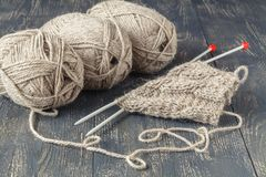 Female home leisure hobby, knitting royalty free stock images