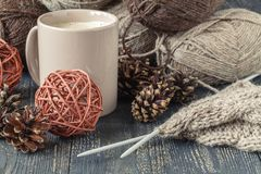 Female home leisure hobby, knitting royalty free stock photography