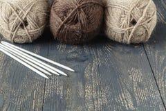 Female home leisure hobby, knitting royalty free stock photo