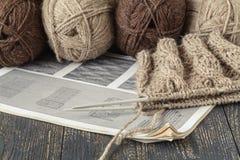 Female home leisure hobby, knitting stock image