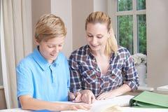 Female Home Tutor Helping Teenage Boy With Studies. Female Home Tutor Helps Teenage Boy With Studies Royalty Free Stock Photo