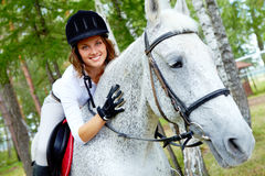 Female on horse Royalty Free Stock Images