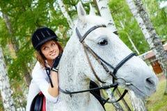 Female on horse Stock Photo