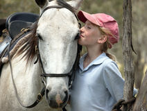 Female horse rider. Female rider with horse in the outback Stock Image