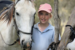 Female horse rider. Female rider with horse in the outback Royalty Free Stock Image