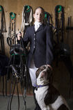 Female Horseback Rider And Dog Stock Photos