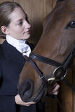 Female Horseback Rider With Horse Stock Photos