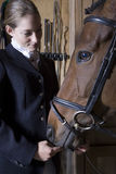 Female Horseback Rider With Horse Stock Images