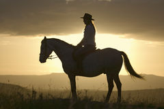 Female horseback rider and horse ride to overlook at Lewa Wildlife Conservancy in North Kenya, Africa at sunset Royalty Free Stock Photography