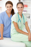 Female hospital doctors. Smiling at camera Royalty Free Stock Photography