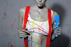 Free Female House Painter Splattered With Latex Paint Stock Photo - 35057640