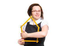 Female with house shape measure, love and protect Stock Photo