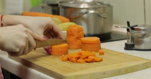 Female housewife hands slicing carrots into pieces in the kitchen royalty free stock photos