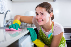 Female houseworker with rag and cleanser indoors. Portrait of young female houseworker with rag and cleanser indoors Stock Images