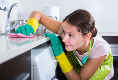 Female houseworker with rag and cleanser indoors. Portrait of young russian female houseworker with rag and cleanser indoors Stock Images