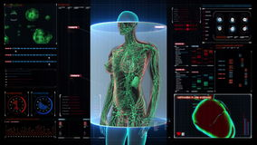Female Human body scanning lymphatic system in digital display dashboard. Blue X-ray light. Female Human body scanning lymphatic system in digital display stock video footage