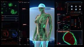 Female Human body scanning lymphatic system in digital display dashboard. Blue X-ray light.