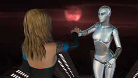 Female Human and Robot - Artificial Intelligence Technology. Female human and robot at red moon background - Artificial Intelligence Technology