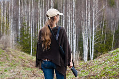 Female hunter in the forest stock image