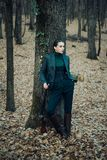 Female hunter in forest. woman with weapon. Target shot. military fashion. achievements of goals. girl with rifle. chase. Hunting. Gun shop. successful hunt royalty free stock images