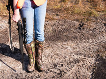Female Hunter. With her .22 rifle royalty free stock photo
