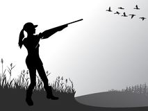 Free Female Hunting. The Girl Is Shooting At Flying Ducks. A Woman With A Gun. Active Lifestyle. Hobbies For Brave People. Vector. Royalty Free Stock Photo - 136201225