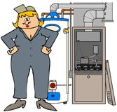 Female HVAC technician. This illustration depicts a woman in coveralls standing next to a furnace and water heater Royalty Free Stock Photography