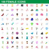 100 female icons set, cartoon style. 100 female icons set in cartoon style for any design illustration royalty free illustration