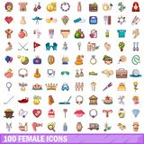 100 female icons set, cartoon style Stock Photo