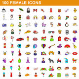 100 female icons set, cartoon style Stock Images