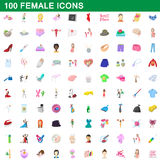 100 female icons set, cartoon style. 100 female icons set in cartoon style for any design vector illustration stock illustration